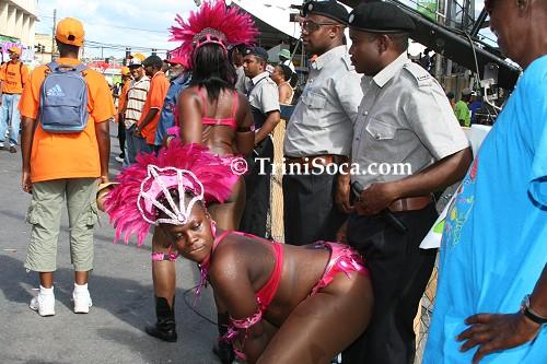 Policeman under pressure keeps his posture