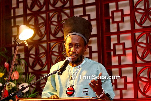 Mr. Lutala 'Brother Resistance' Masimba, President of Trinbago Unified Calypsonians' Organisation (TUCO) delivers remarks