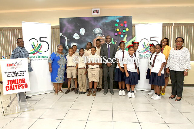 Students and teachers of Belmont Boys R.C. School and the Melville Memorial Girls Anglican School with representatives of TUCO and First Citizens