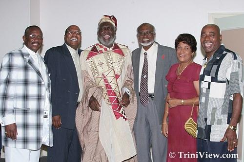 LEFT: Winston 'Gypsy'Peters, Wade Mark, Mr. Makandal Daaga, Mr. Nobel Khan, Mrs. Khan and Morel 'Luta' Peters