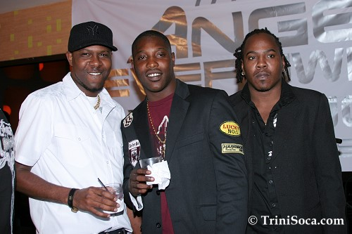 LEFT: Rodney 'Benjai' LeBlanc, Kernel Roberts and Joel 'Zan' Feveck in Club Zen at Machel Montano's Appreciation Ceremony 2007