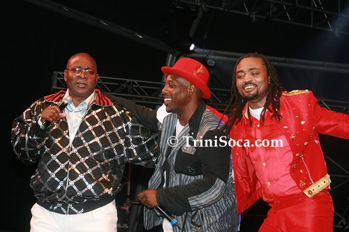 LEFT: Slinger 'Mighty Sparrow' Francisco, Kernel Roberts and Machel Montano