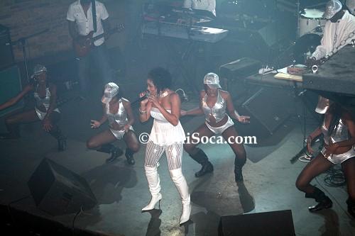 Soca singer Destra Garcia and her dancers