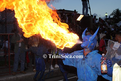 Fire-Breathing Blue Devil at the Canboulay Re-enactment